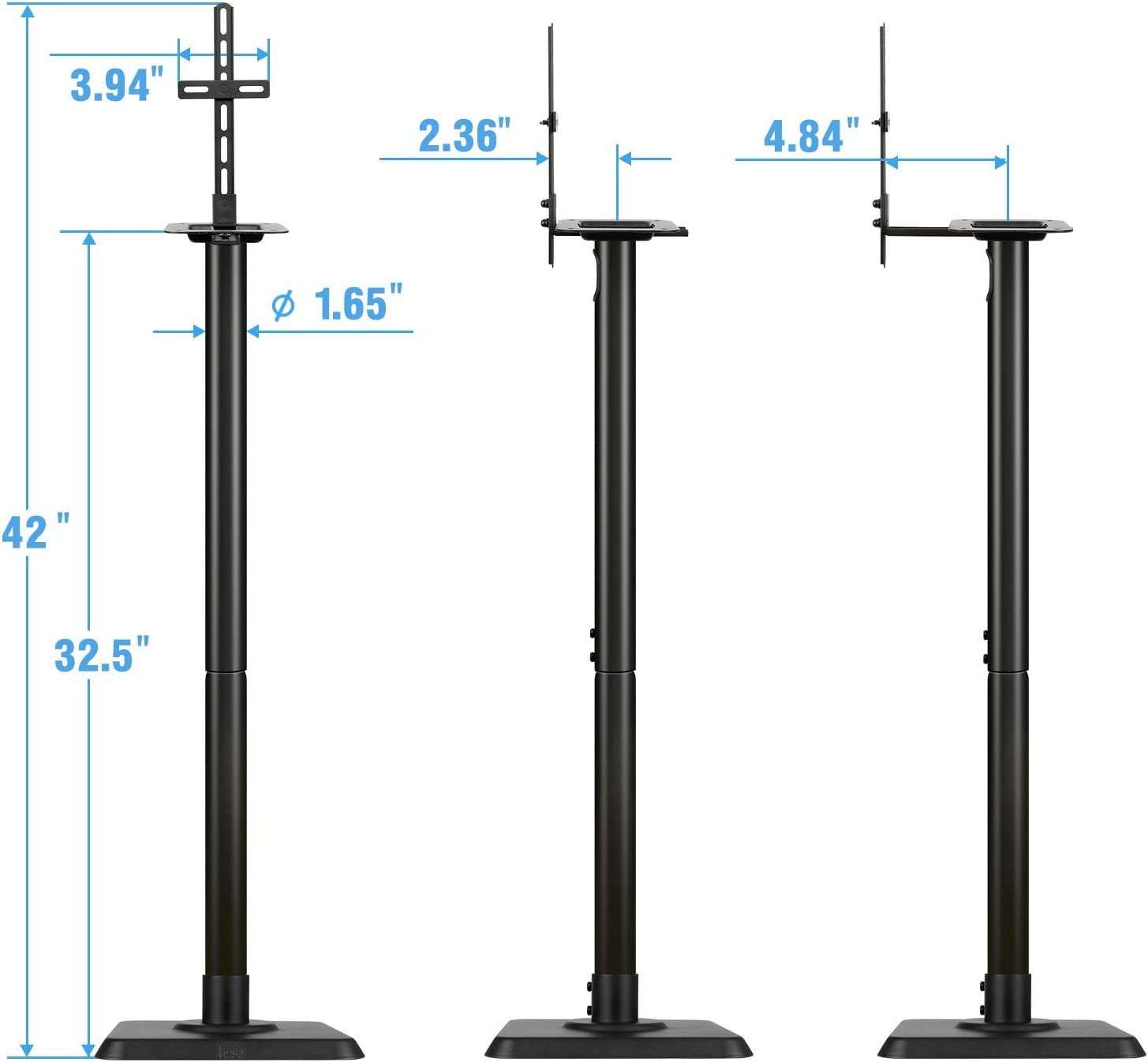 Mounting Dream Speaker Stands - Bookshelf Speaker Stands for Bose, Polk, JBL, KEF, Sonos, Sony and Others, Set of 2 Satellite Speaker Stands with Wire Management (11LBS Capacity Per Stand)