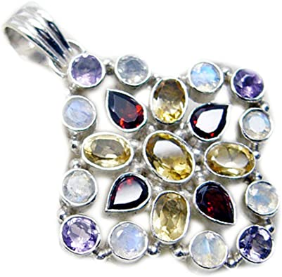 Gemsonclick Natural Multi Sterling Silver Charms For Women Pendant Chakra Healing Mixed Shape Necklace