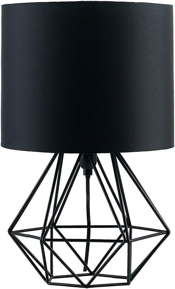 MiniSun - Moderna Lámpara de Mesa Negra – Innovadora Base de Estilo Jaula - Pantalla Negra - Iluminación Interior