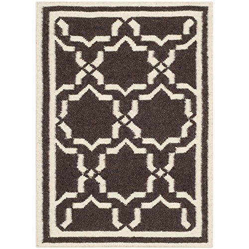 Safavieh Dhurries Collection DHU545A Hand Woven Chocolate and Ivory Premium Wool Area Rug (2' x ()