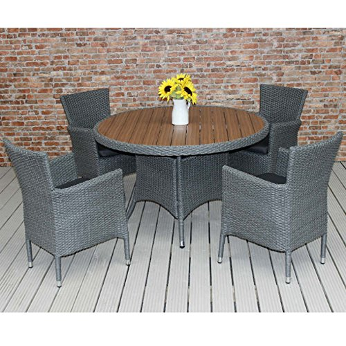 Rattan Dining Set For 4 with Plaswood Topped 120cm Diameter Round Table - Four Seater Patio Dining Set - Suitable for cafe furniture - Includes dark grey...