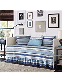 blue and white stripe cotton 5piece quilted daybed cover set and classic style