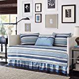 Blue and White Stripe Cotton, 5-piece Quilted Daybed Cover Set and Classic Style Included Cross Scented Candle Tart