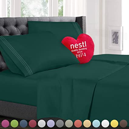 Twin Size Bed Sheets Set Hunter Green, Highest Quality Bedding Sheets Set  On Amazon,