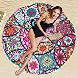 Round Beach - 146cm Round Beach Towel Polyester Printed Outside Summer Fringed Cotton Yoga Mat Sun Shawl Wrap - Thick Coffee Towels Pillow Cover Blanket Mouse Fringe Shell Mandala