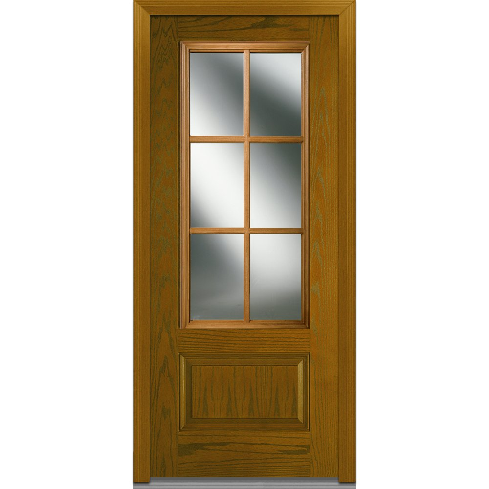 National Door Company Z000246R In-Swing Entry Door, Prehung Right Hand, Classic Clear Glass with SDL, 3/4 Lite, 1-Panel, Fiberglass Oak, 36'' x 80''
