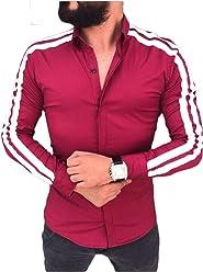 3a409f57c7 WANGSCANIS Men s Long Sleeve Shirt Casual Button Down Slim Fit Shirt Hiding  Button Dress Shirt