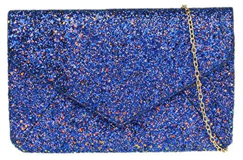 Embrague Brillo Femeninos Azul De Bolsa Llanura Real Bolsos CAIdqw5q
