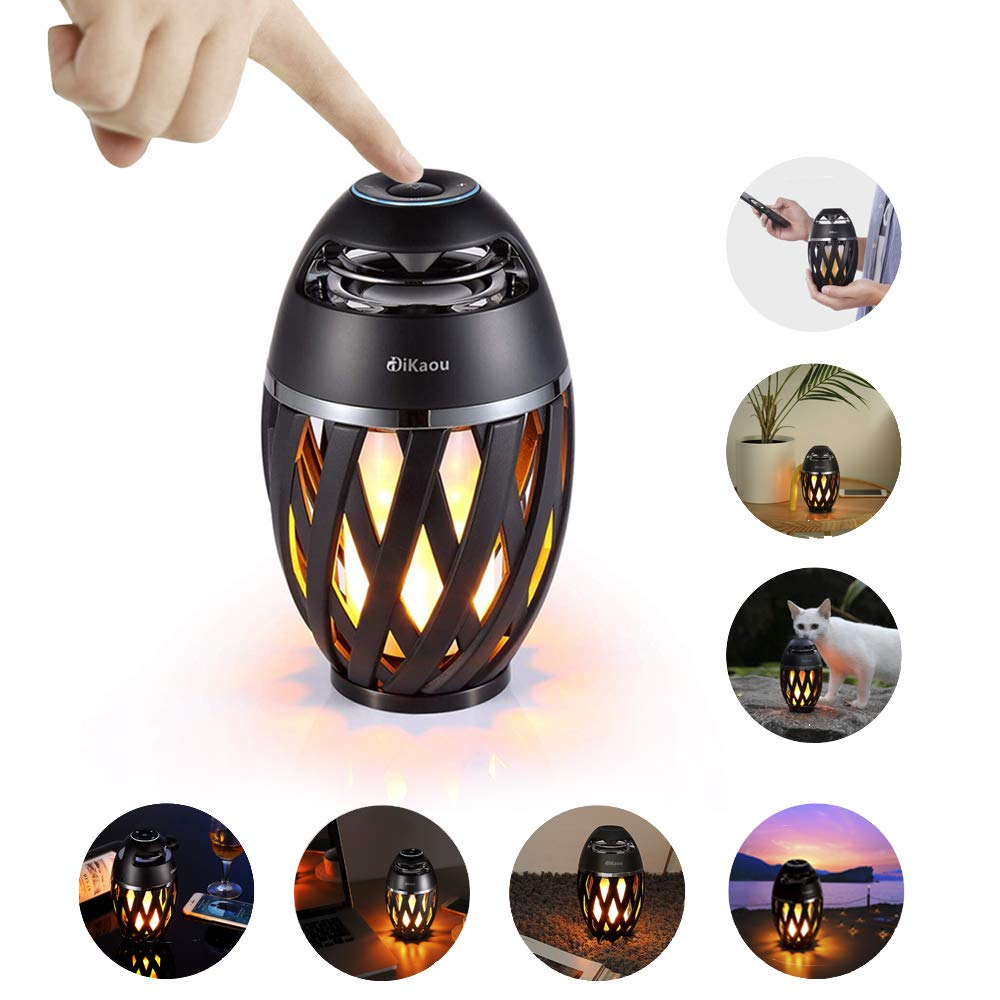Led Flame Speakers, DiKaou Portable Outdoor Wireless Speakers with HD Audio and Enhanced Bass, Torch Atmosphere Desk Lamp with LED Flickers Warm Night Lights for iPhone/iPad/Android