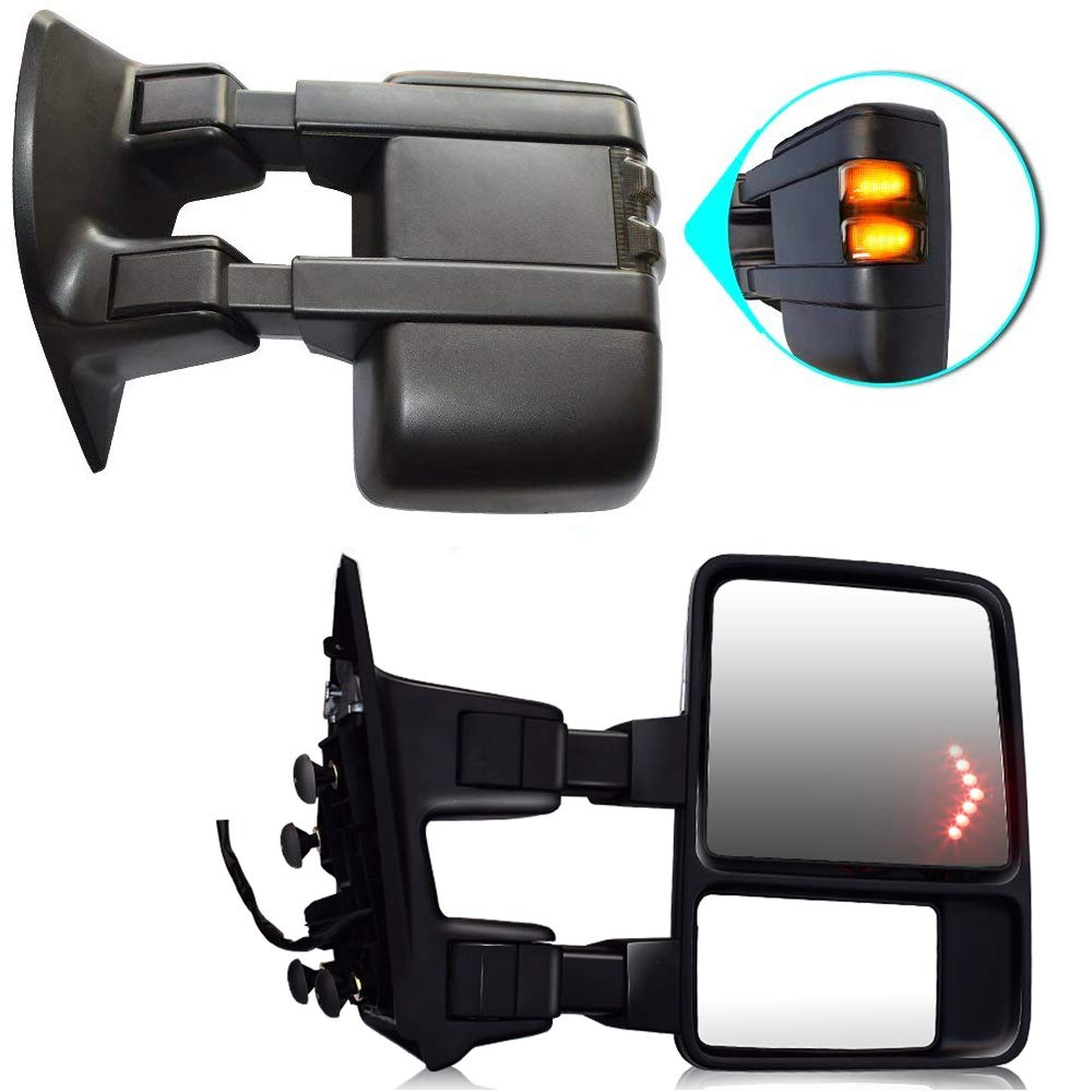 Retractable folding Towing Mirrors DOT Pair Black Rear Tow Mirrors View Side Mirrors Work With 1999-2007 Ford F250 F350 F450 F550 Super Duty, 1 Year Warranty T-Former