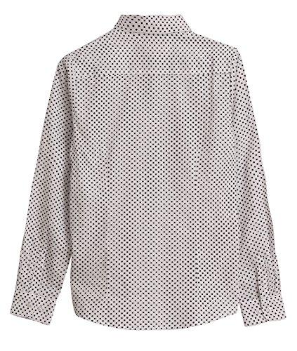 Dioufond® Camisas Mujer Slim Fit Manga Larga Estampada de Lunares Blanca