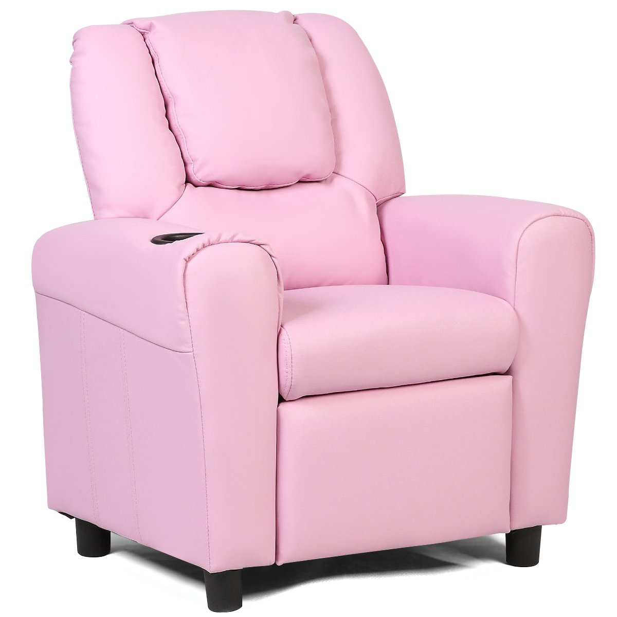Costzon Contemporary Kids Recliner, PU Leather Lounge Furniture for Boys & Girls W/Cup Holder, Children Sofa Chair (Pink) by Costzon