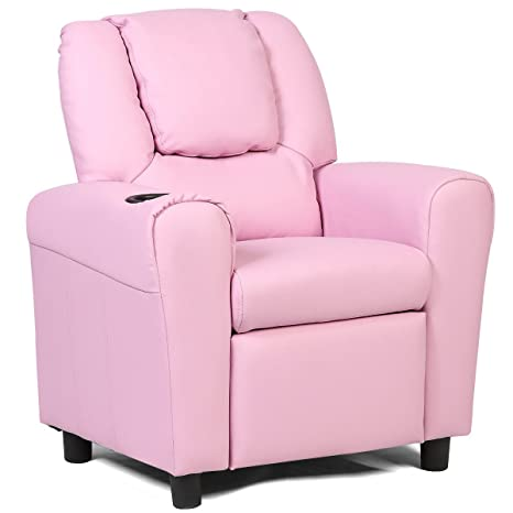 Cool Costzon Contemporary Kids Recliner Pu Leather Lounge Furniture For Boys Girls W Cup Holder Children Sofa Chair Pink Andrewgaddart Wooden Chair Designs For Living Room Andrewgaddartcom