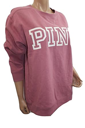 aee0366124 Victoria s Secret PINK Soft Fleece Campus Crew Sweatshirt Soft Begonia  (Small) Oversize  Amazon.in  Clothing   Accessories