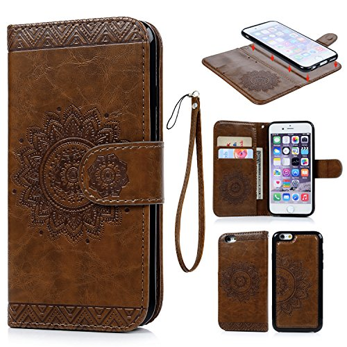 iPhone 6 6S Case, iPhone 6 6S Wallet Case Oil Wax Embossed Totem Flowers PU Leather Cover Detachable Magnetic Wallet TPU Cover Card Slots Wrist Strap for iPhone 6 6S 4.7 inch Brown