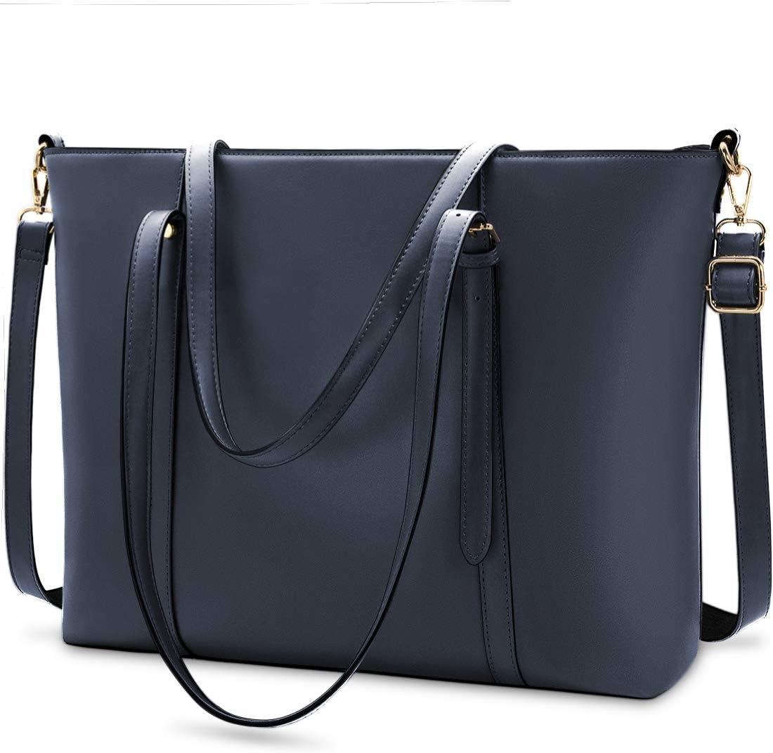 Laptop Bag for Women Lightweight Leather Work Tote Waterproof Business Office School Computer Bag for 15.6 Inch Laptop & Tablet Professional Large Capacity Briefcase Handbag Shoulder Bag Nav