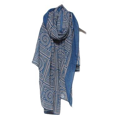 Cinnamou Mode Lady Femmes Vintage Longs Doux Imprimé Écharpes Châle Wrap Écharpe  Foulards (Bleu)  Amazon.fr  Vêtements et accessoires d6e09370165