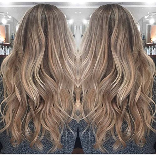 Full Shine 20 inch Real Human Hair Lace Front Wigs Ombre Human Hair Wigs for Women Balayage Wig Color #2 Fading to #6 and #18 Ash Blond 130% Human Hair Lace Wig (Best Hair Colour For Women Over 50)