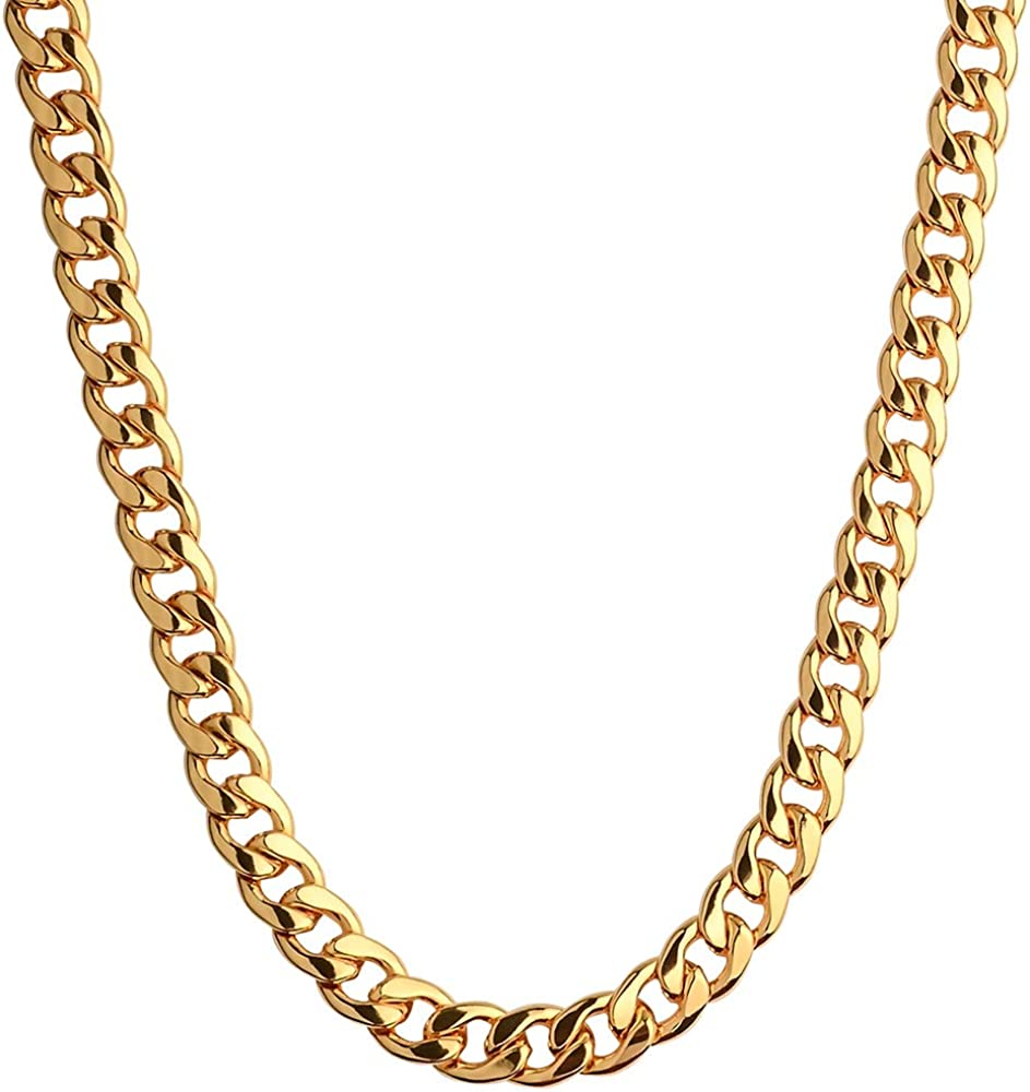 Crazypiercing 18k Gold Plated Necklace Men Jewelry 10mm Wide Hip Hop Turnover Chain Necklace Stainless Steel 19 24 19 Inches Amazon Com