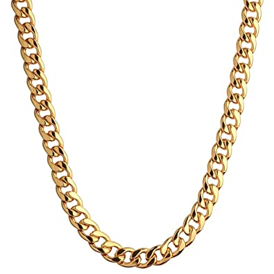 cd8eebe11a248 CrazyPiercing 18K Gold Plated Necklace, Men Jewelry 10MM Wide Hip Hop  Turnover Chain Necklace,