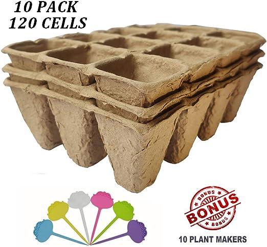 Macetas de turba biodegradables para plantas, 120 celdas, juego de ...