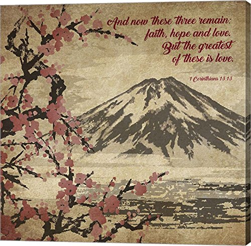 1 Corinthians 13:13 Faith, Hope and Love (Japanese) by Inspire Me Canvas Art Wall Picture, Gallery Wrap, 37 x 37 inches by Great Art Now