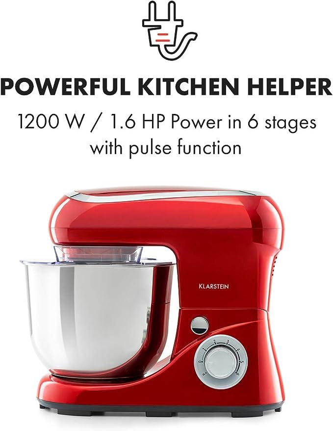 Robot cocina Amasadora Mezcladora 1200W 1,6PS 6 niveles 5 litros Klarstein Pico