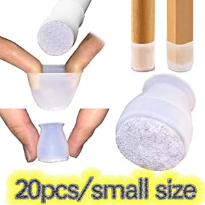 20Pcs[Small Size]Soft Silicone for Round and Square Chair Legs Floor Protectors Caps,Protection Cover with Felt Pads for Dining Chair,Table Feet Furniture Cups(20PCS(FIT 20-33mm / 0.78-1.3 inch))