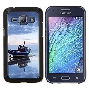 KLONGSHOP // Cubierta de piel con cierre a presión Shell trasero duro de goma Protección Caso - Puesta de sol de coco Beautiful Nature 122 - Samsung Galaxy J1 J100 //