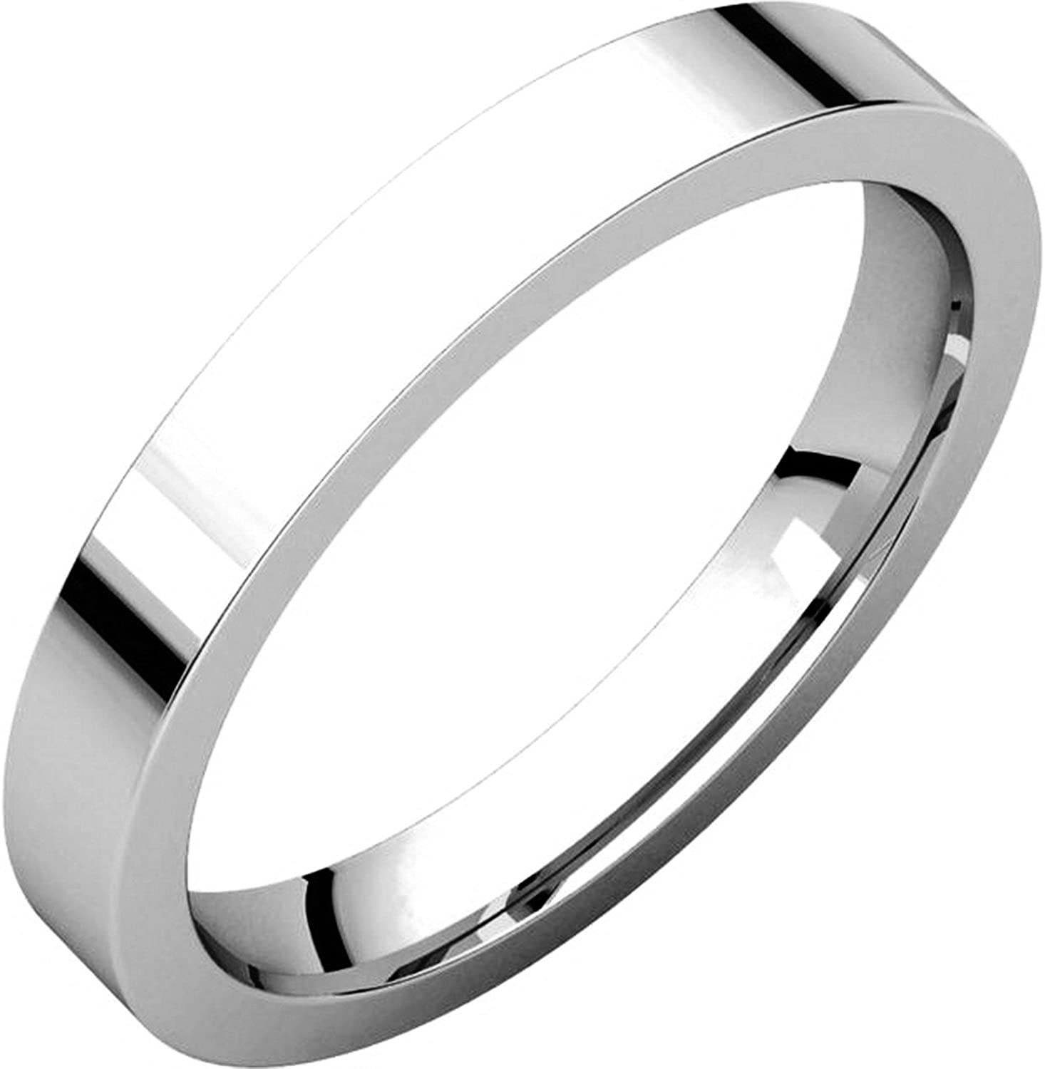 Mens and Womens 14k White Gold Plain Wedding Band 3mm Wide