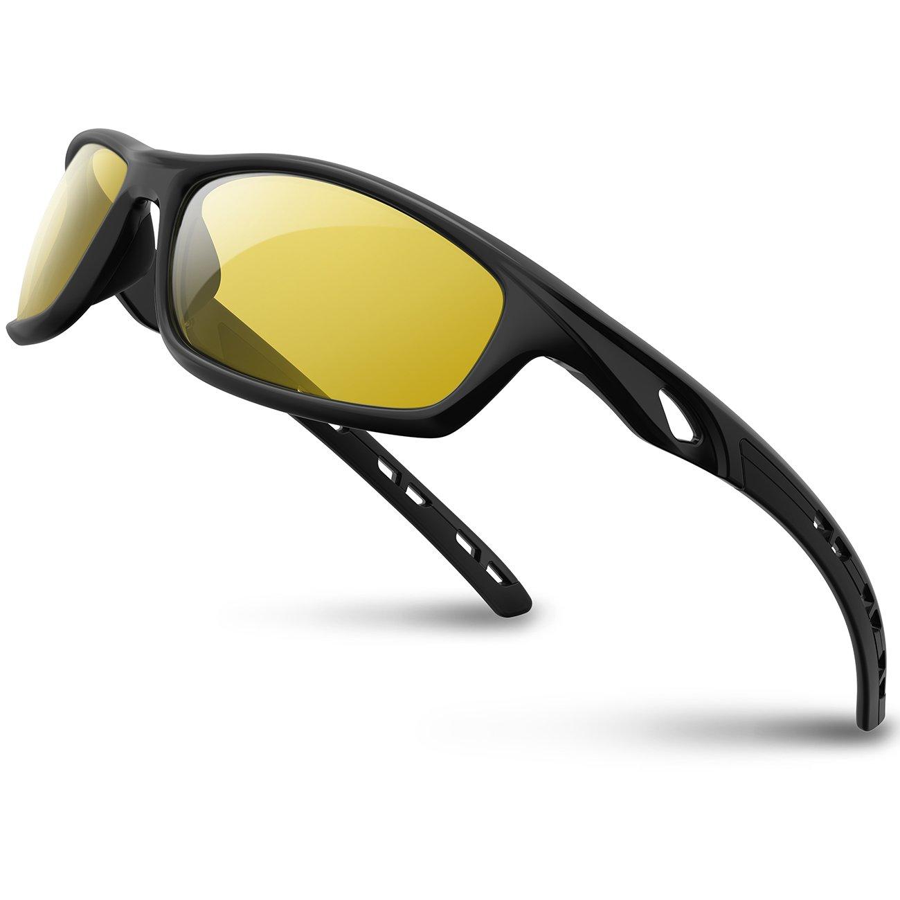 RIVBOS偏光スポーツサングラス運転SunメガネメンズレディースTR 90アンブレイカブルフレームfor Cycling野球Running rb833  833-black night version lens B07C2X1WH9