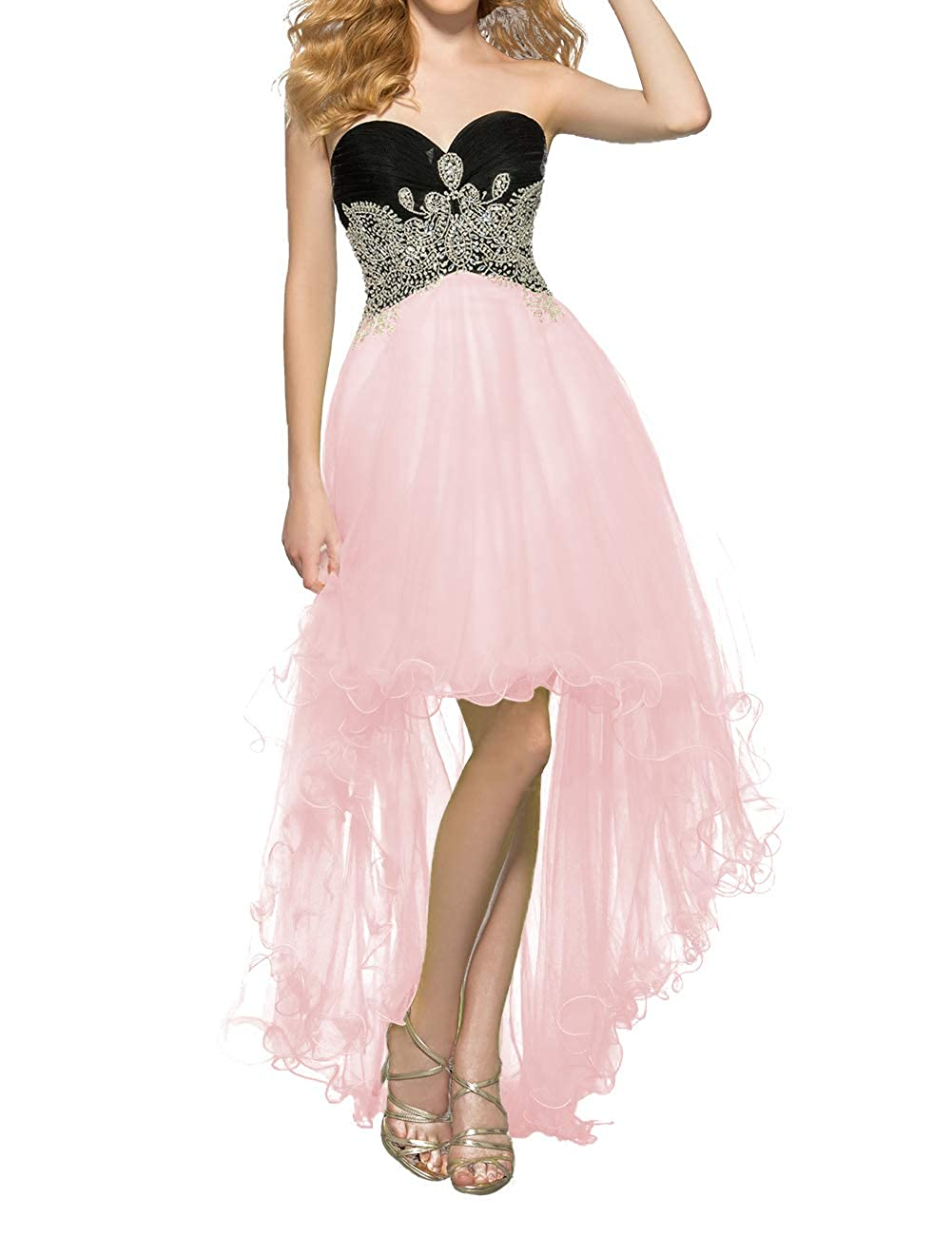 Pink Uther Women's Tulle HiLow Beaded Prom Dresses Strapless Evening Homecoming Cocktail Gowns