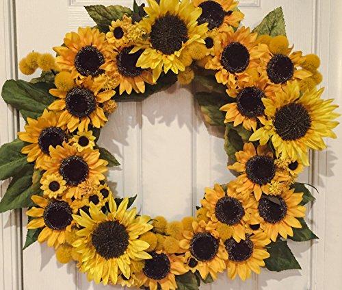 Sunflower Fall Wreath 24″ Big Bright Yellow Sunflower Decoration Flower Summer Wreath Fall Wreath