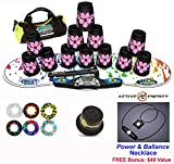 Speed Stacks Combo Set ''The Works'': 12 PINK HAWAIIAN 4'' Cups, RAINBOW DROP Gen 3 Mat, G4 Pro Timer, Cup Keeper, Stem, Gear Bag + Active Energy Necklace