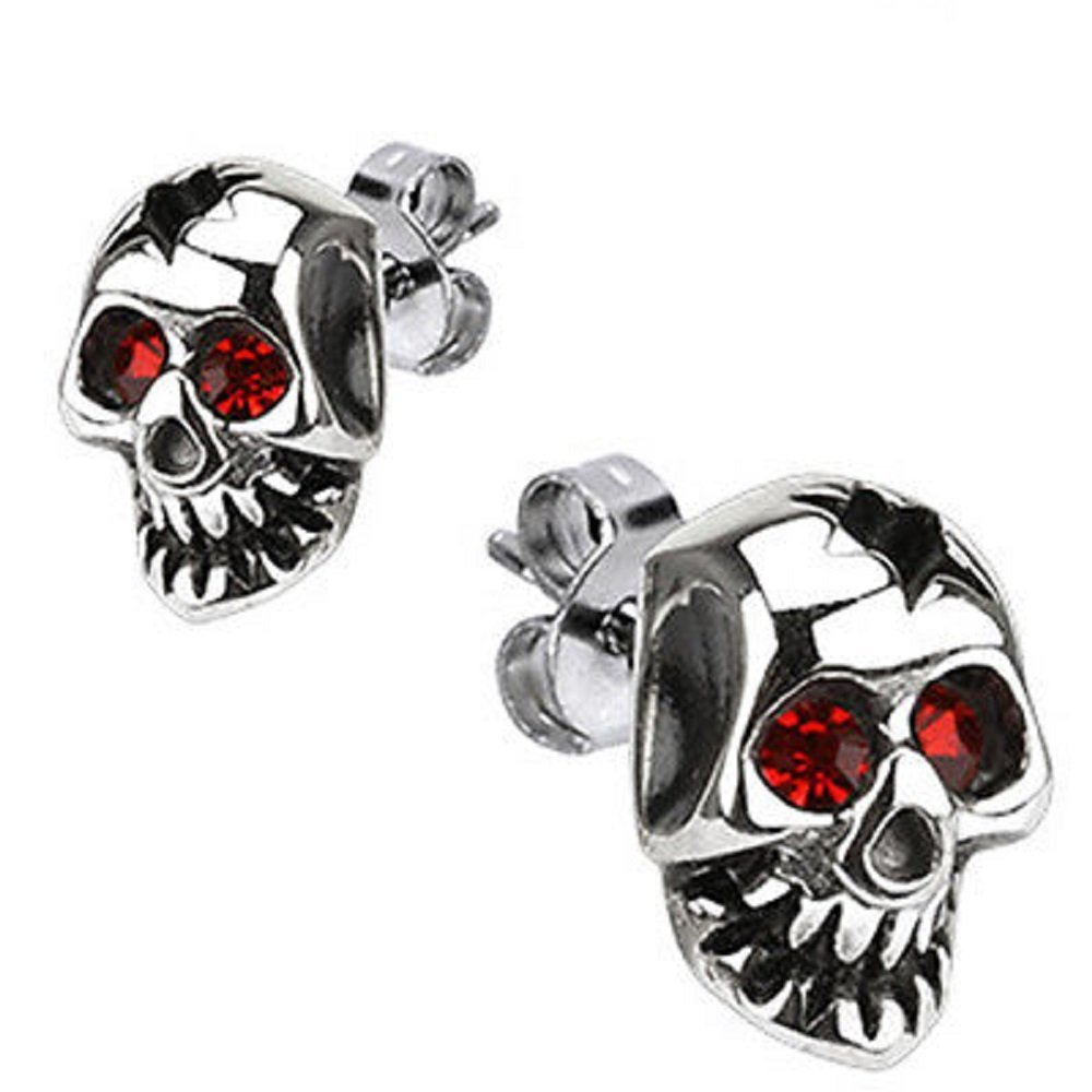 Cracked Skull Red CZ Stone Eyes 316L Surgical Steel Fashion Earrings / Unique Gifts and Souvenir