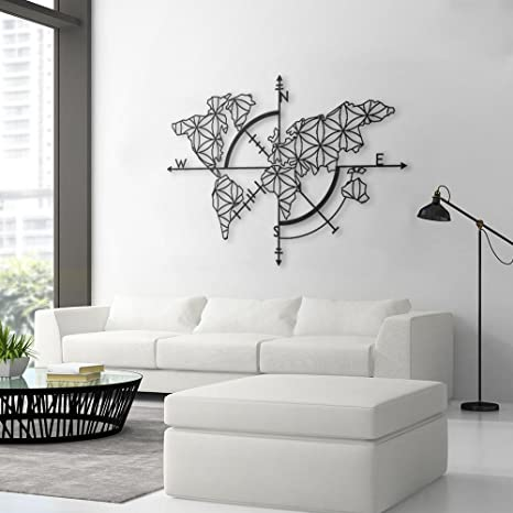 Amazon Com Bekata Map Of Life Metal Wall Art World Map And Compass Themed Wall Decor Home Gift Housewarming Gift Wedding Gift Carte Du Monde Mapa Del Mundo Medium Size 97 X 70