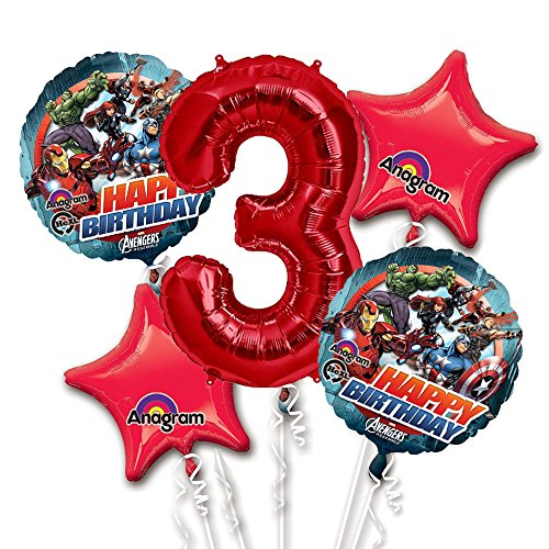 Avengers Balloon Bouquet 3rd Birthday 5 pcs - Party Supplies