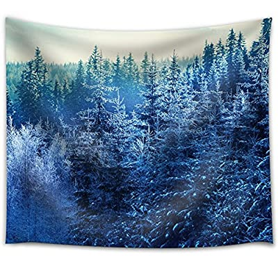 Blue Pine Trees Covered in Snow in a Forest - Fabric Tapestry, Home Decor - 51x60 inches