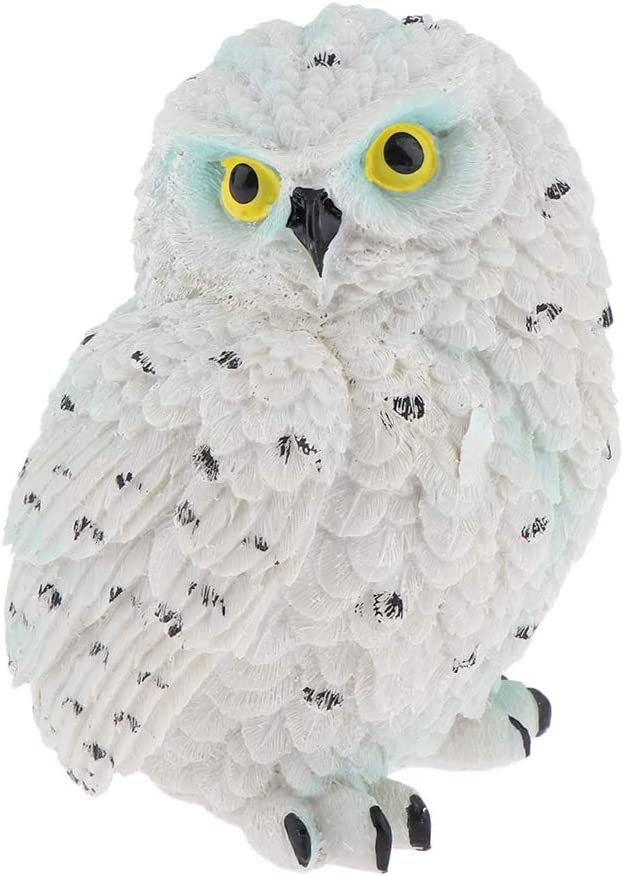 FLAMEER Cute Owl Statue, Mini Owl Resin Figurines, Fairy Garden Accessories, Owl Decor Ornaments Gift for Children, Indoor and Outdoor Decor - White Owl 10cm