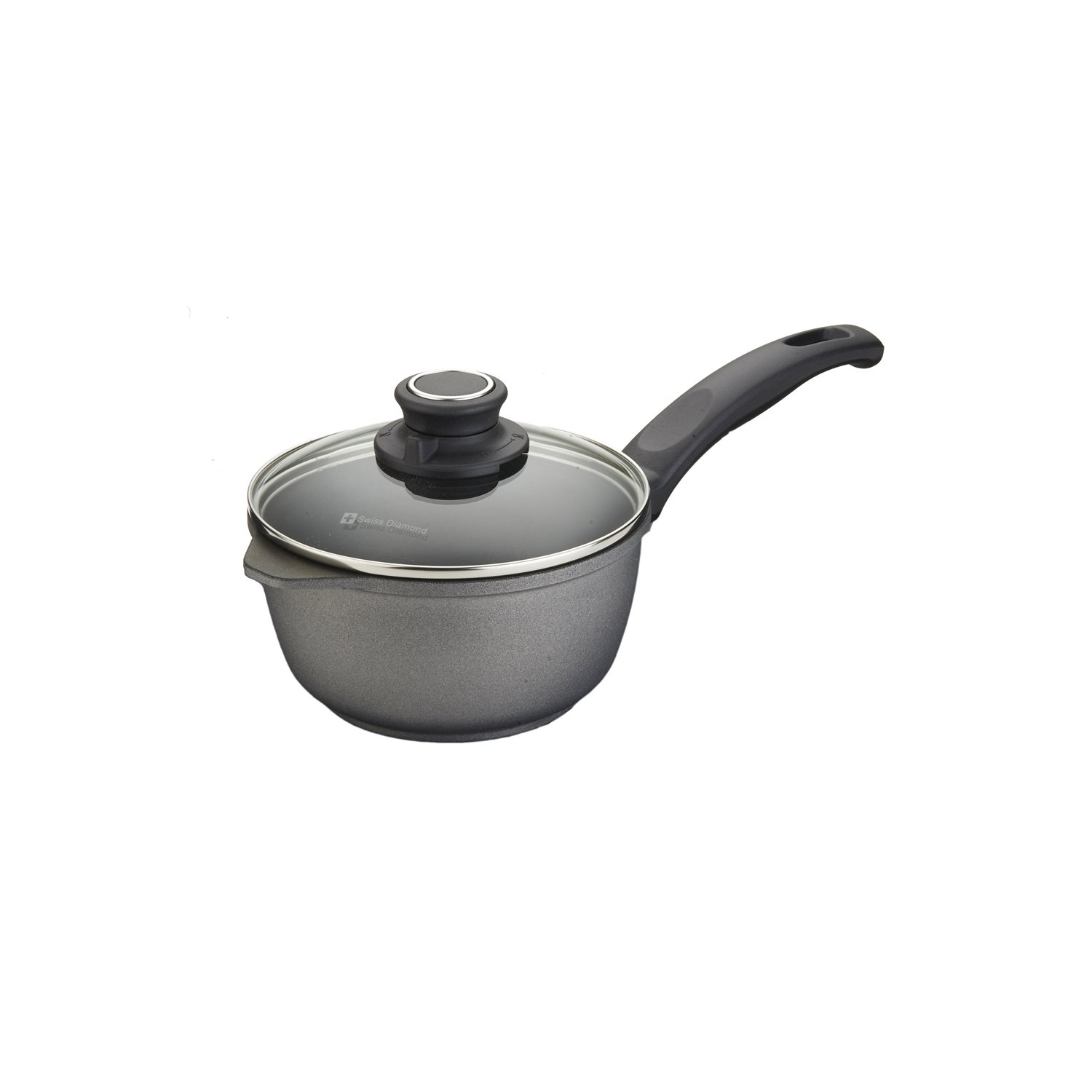 Swiss Diamond ST6716c Swiss Titan 1.4 quart Sauce Pan with Lid, Gray, 6.25''