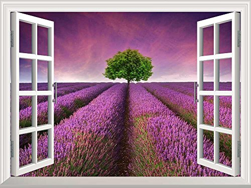 Removable Wall Sticker Wall Mural Tree on a Purple Filed Creative Window View Wall Decor