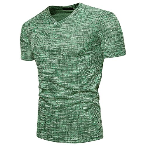 Realdo Mens Casual T-Shirt, Summer SOID V Neck Short Sleeve Pullover Top Tee Blouse(Green,Large)