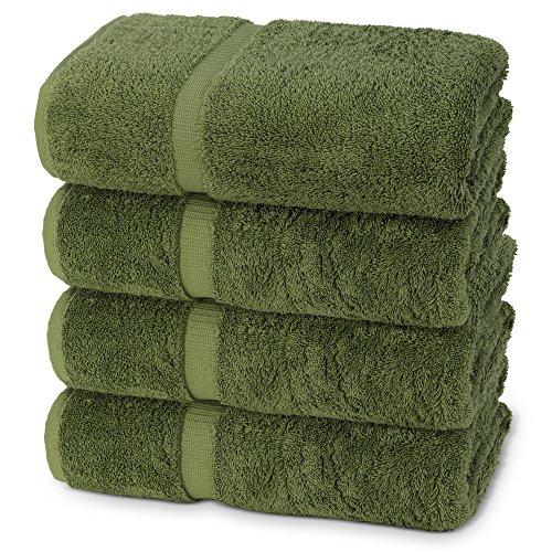 Towel Safari Bath (Indulge Linen Extra Soft Bath Towels, Set of 4, 100% Turkish Cotton, Safari Green)