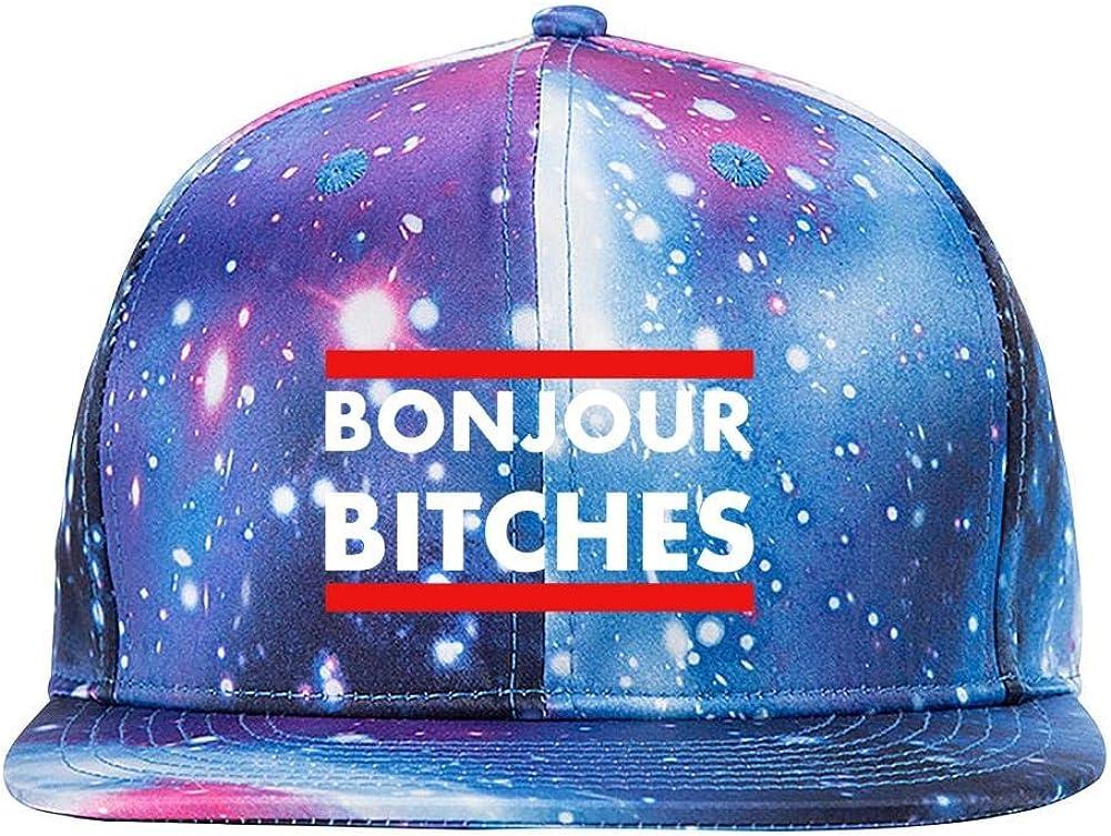 Bonjour Bitches Galaxy 3D Printed Baseball Cap Snapback Trucker Hat Hip Hop Hats for Men Women Blue