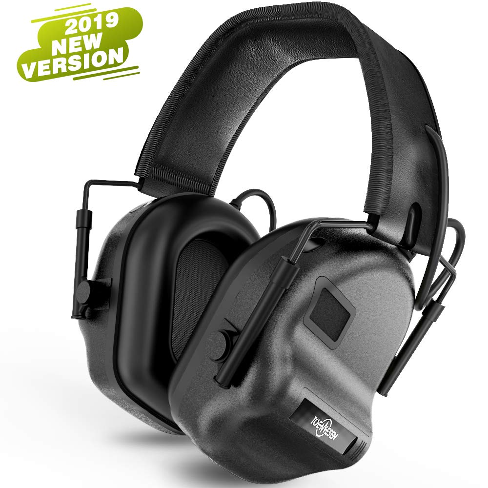 Tactical Headset Electronic Earmuff Headphones - Sound Amplification Electronic Noise Canceling Hearing Protection(Black)