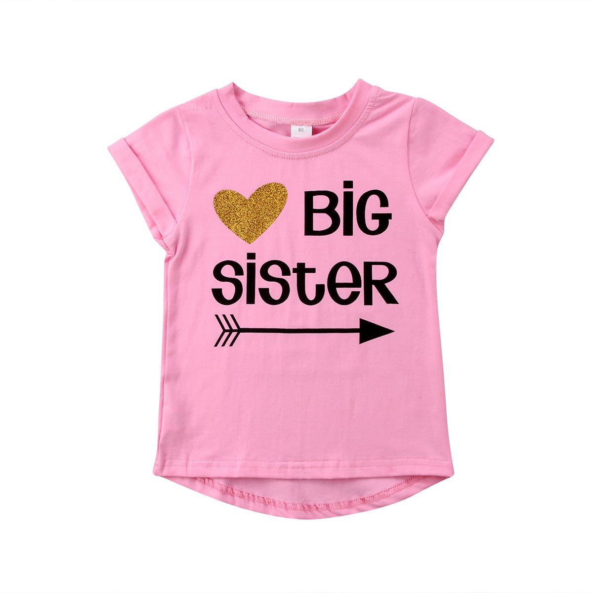 Big Sister & Little Sister Clothing Family Matching Girls Fitted T-Shirt & Toddler Baby Girls Bodysuit Set (Big Sister Shirt, 1-2Y)