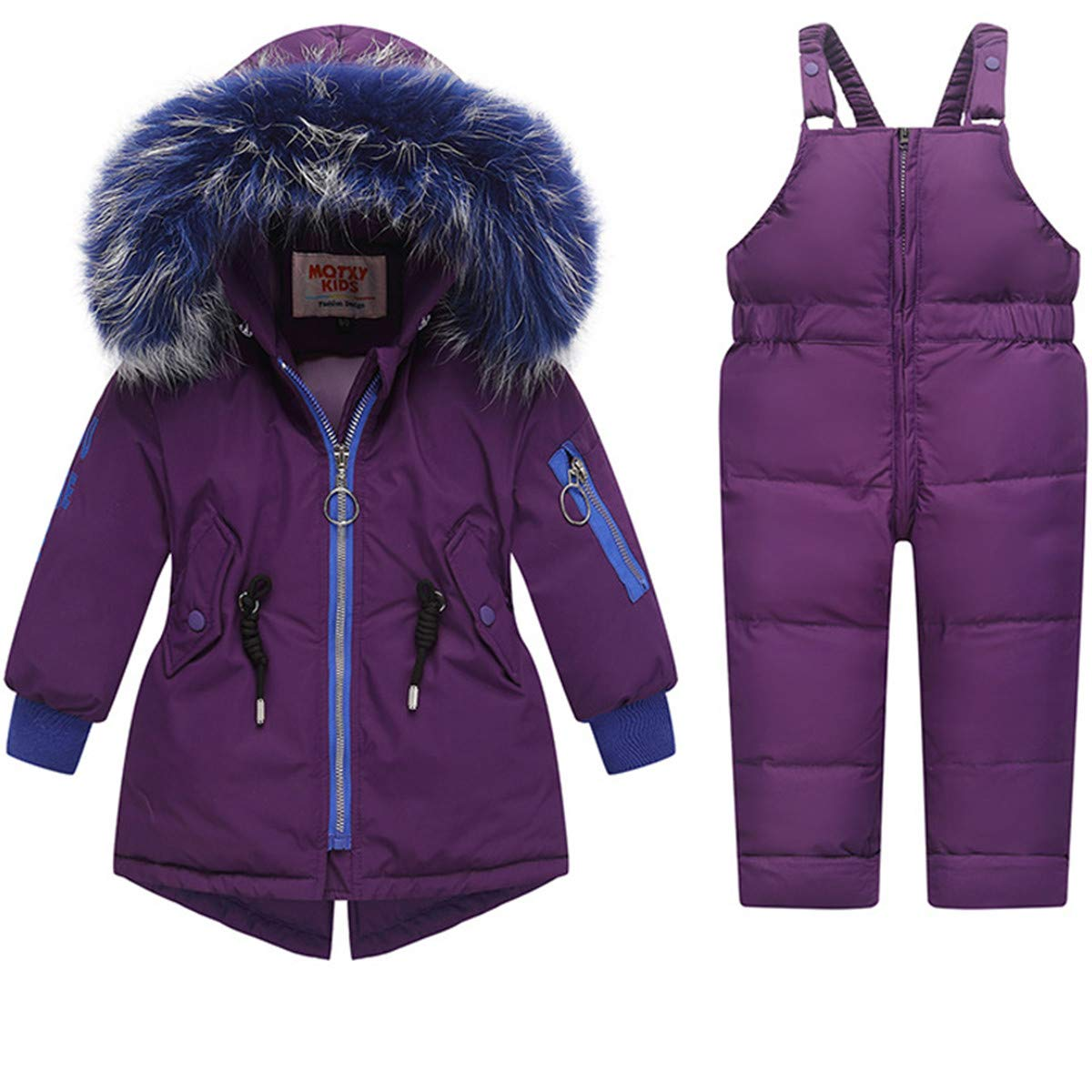 REWANGOING 2 Pcs Baby Kids Girls Winter Warm Colorful Fur Trim Puffer Down Jacket Snowsuit with Ski Bib Pants Set 2-3 Years Purple by REWANGOING