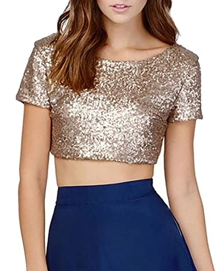 Mujeres Camisetas Camisas Tops Manga Corta Lentejuelas Brillantes T shirt Túnica Blusas XS Oro
