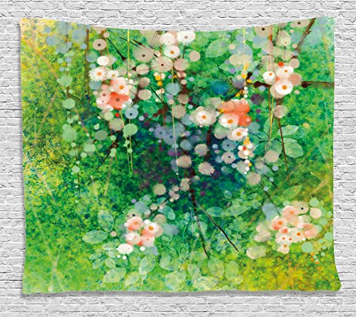 Flower Home Decor Tapestry, Apple Blossoms on Grass with Splashes Grace Sign Nature Print, Wall Hanging for Bedroom Living Room Dorm, 80WX60L Inches, Pink Green (Apple Blossom)