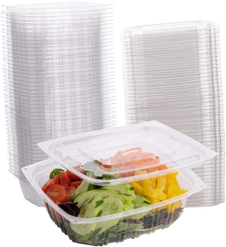 Smygoods Plastic Deli Containers, Square Deli Food Storage Containers with Lids, Clear, 64 Count, Plastic Salad Containers,